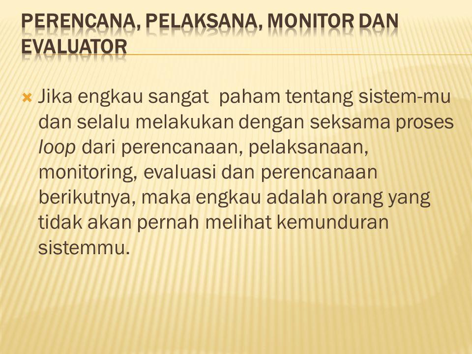 Perencana, Pelaksana, Monitor dan Evaluator