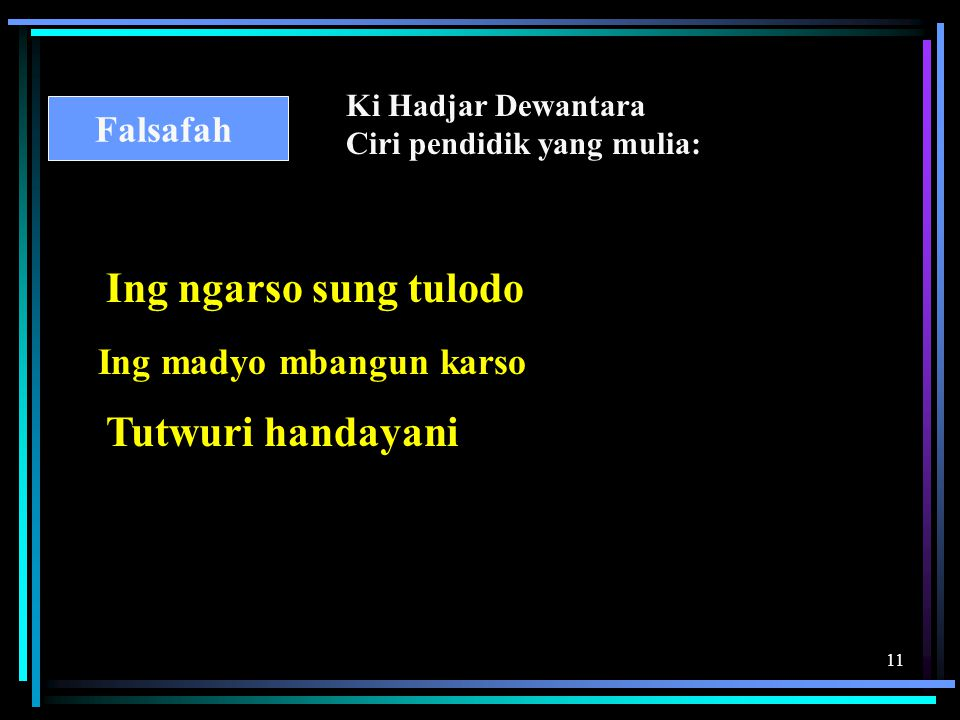 Ing ngarso sung tulodo Tutwuri handayani Falsafah