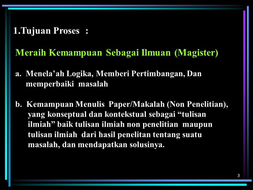 1.Tujuan Proses : Meraih Kemampuan Sebagai Ilmuan (Magister)