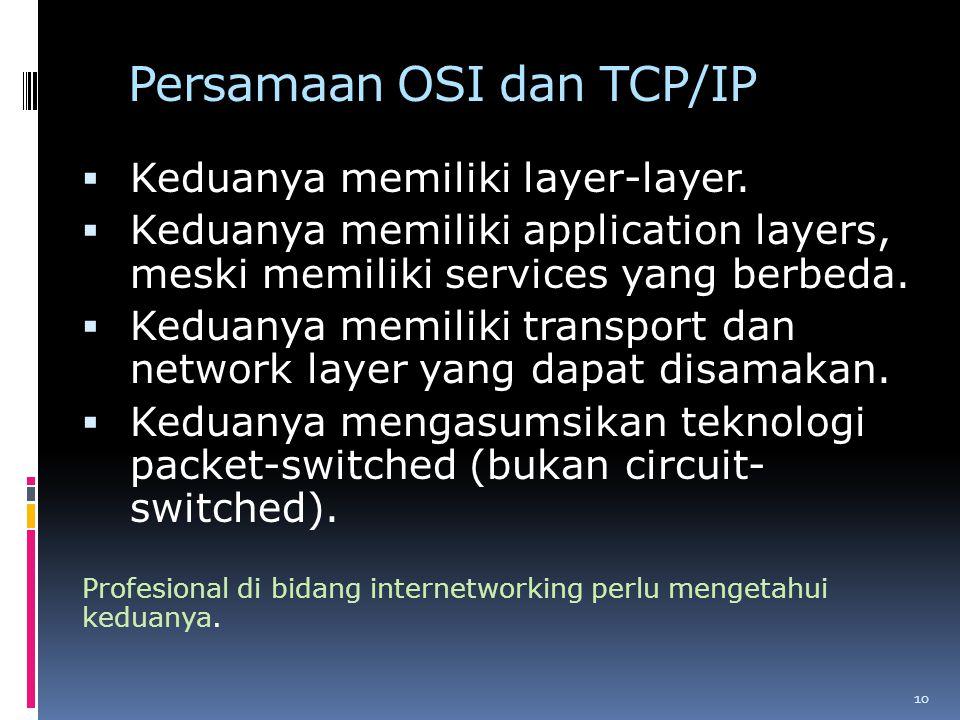 Persamaan OSI dan TCP/IP