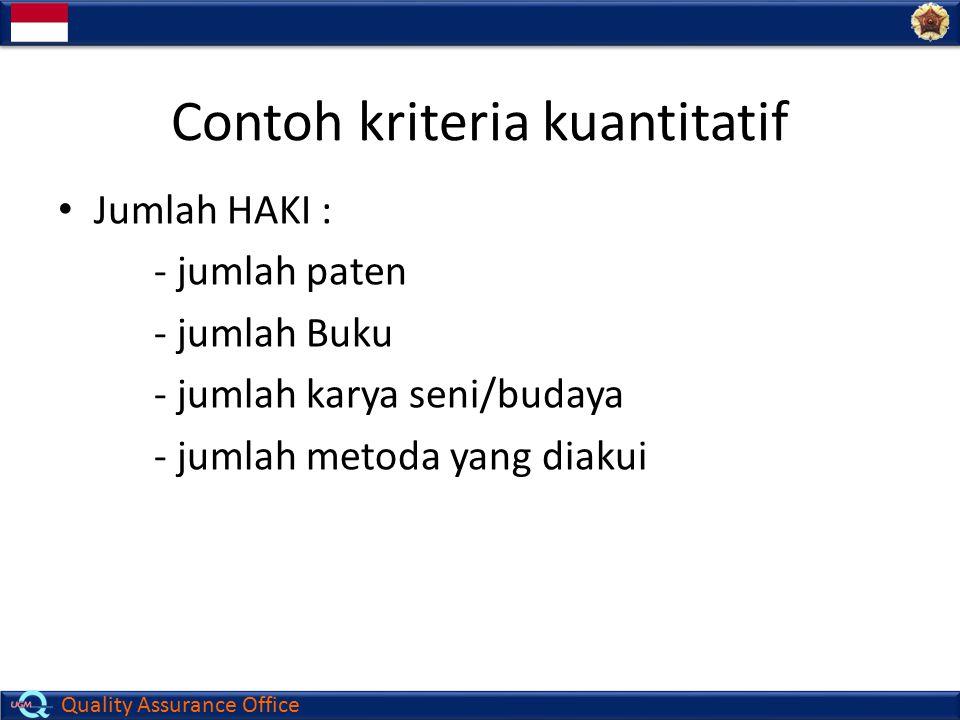 Contoh kriteria kuantitatif