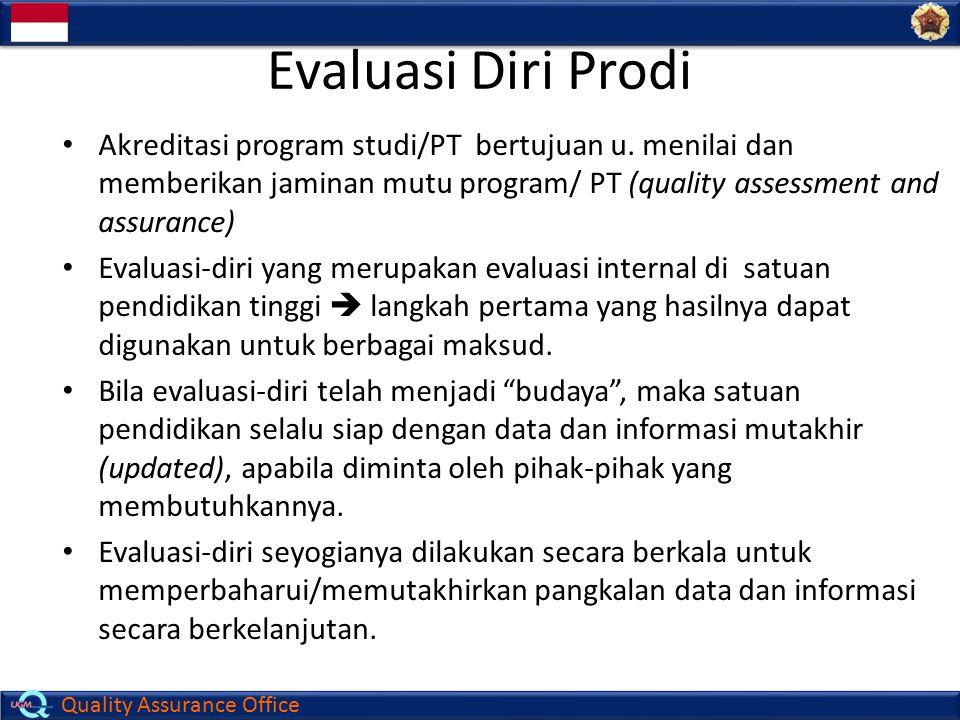 Evaluasi Diri Prodi Akreditasi program studi/PT bertujuan u. menilai dan memberikan jaminan mutu program/ PT (quality assessment and assurance)