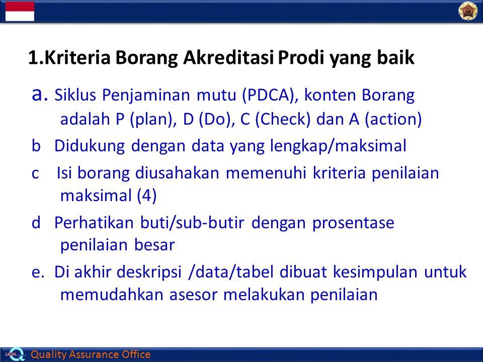 1.Kriteria Borang Akreditasi Prodi yang baik