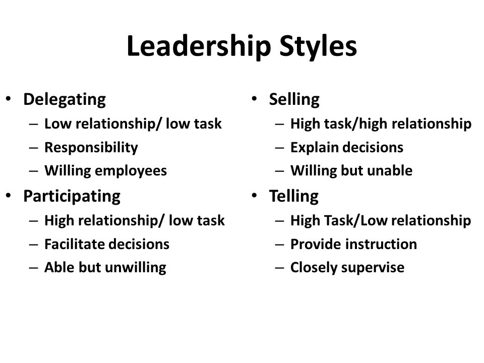 Leadership Styles Delegating Participating Selling Telling