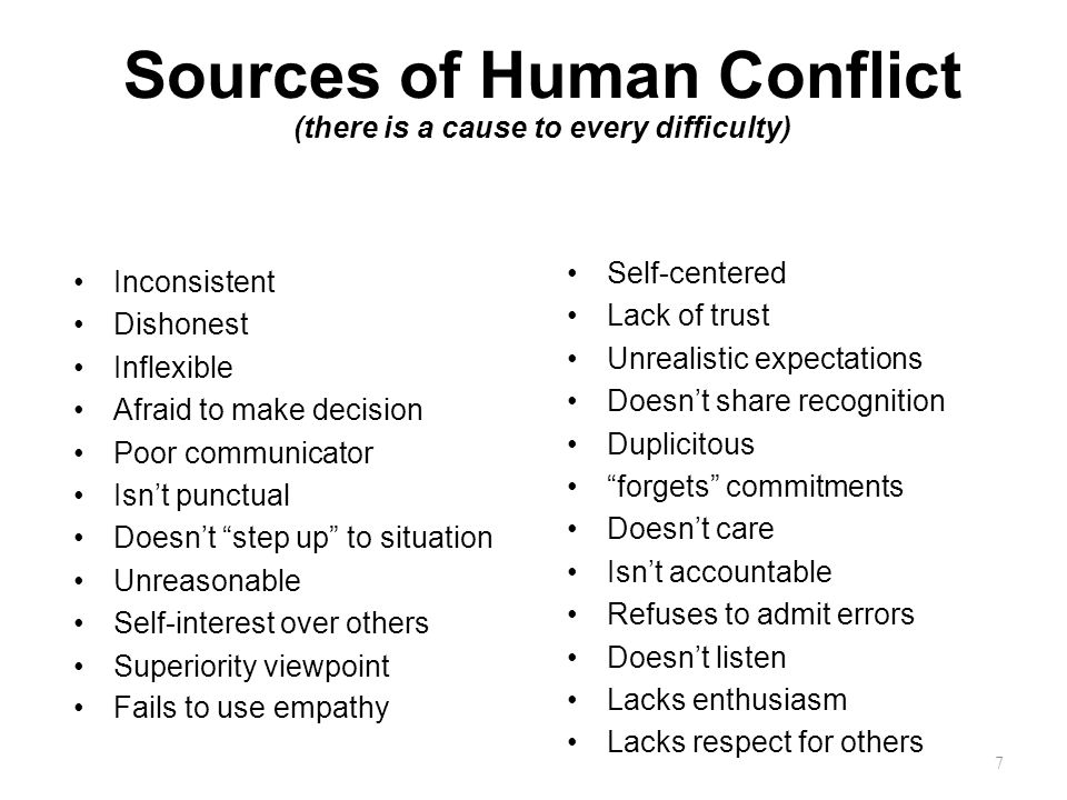 Sources of Human Conflict (there is a cause to every difficulty)