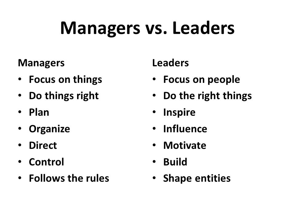 Managers vs. Leaders Managers Focus on things Do things right Plan