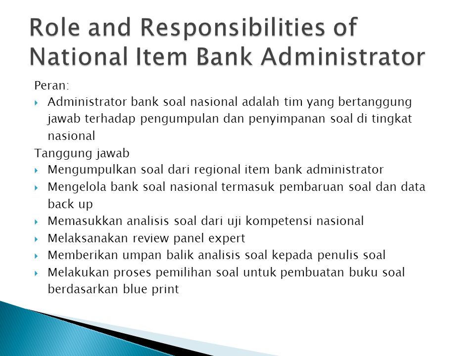 Role and Responsibilities of National Item Bank Administrator