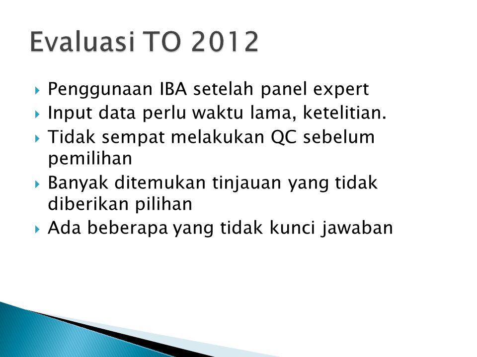 Evaluasi TO 2012 Penggunaan IBA setelah panel expert