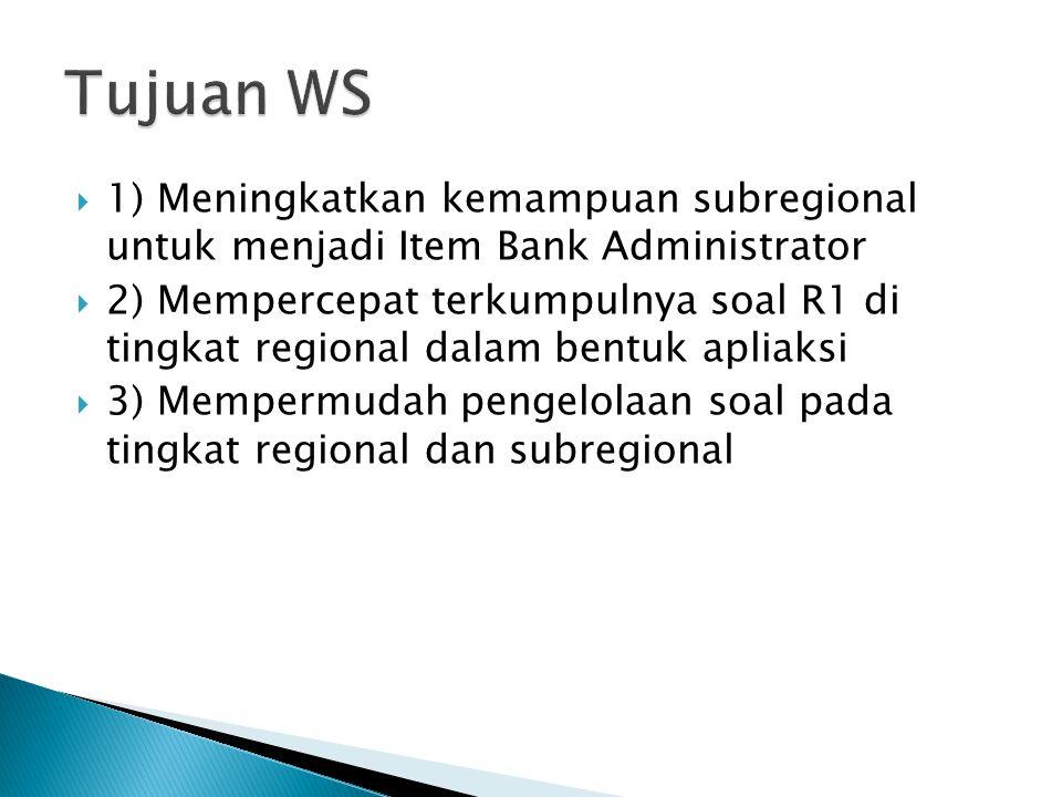 Tujuan WS 1) Meningkatkan kemampuan subregional untuk menjadi Item Bank Administrator.