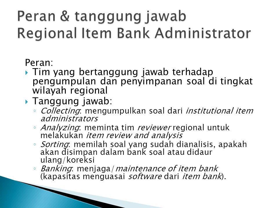 Peran & tanggung jawab Regional Item Bank Administrator