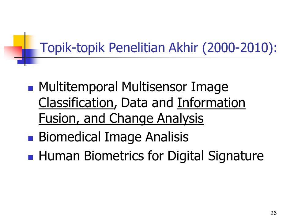 Topik-topik Penelitian Akhir (2000-2010):