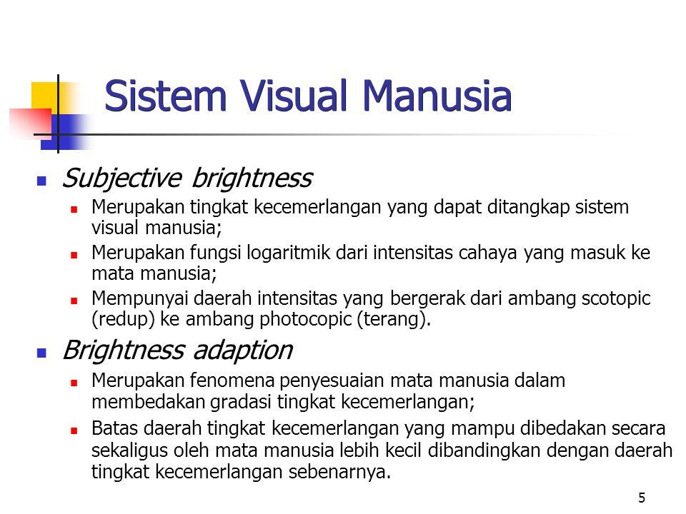 Sistem Visual Manusia Subjective brightness Brightness adaption