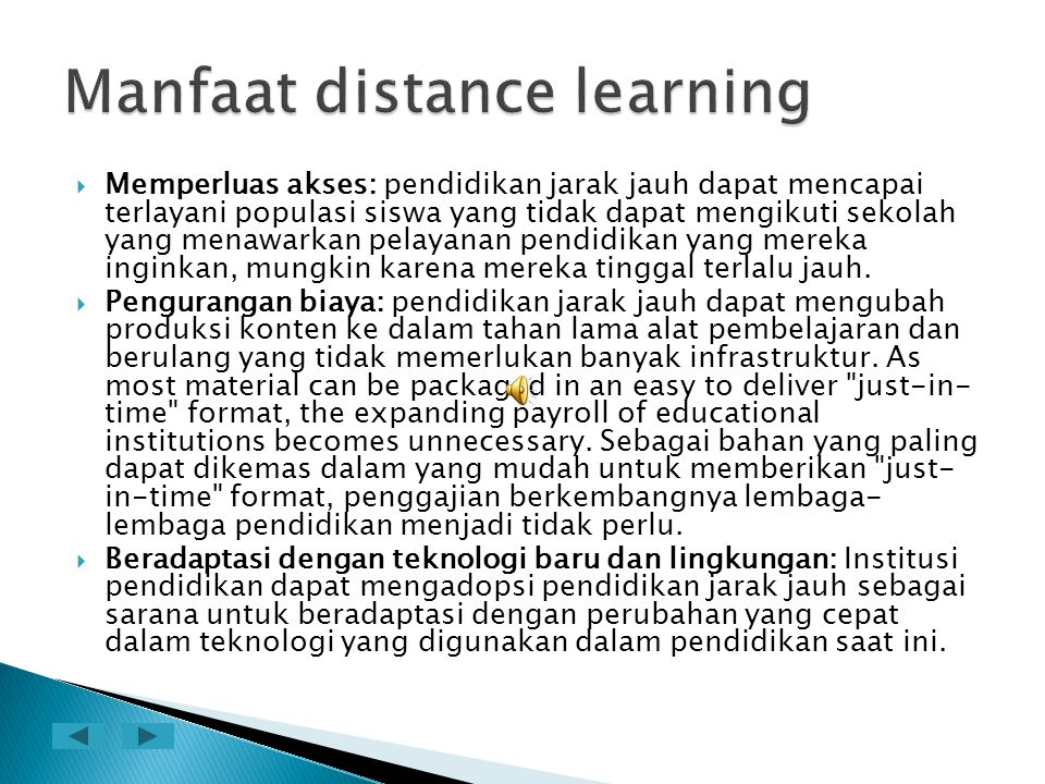 Manfaat distance learning