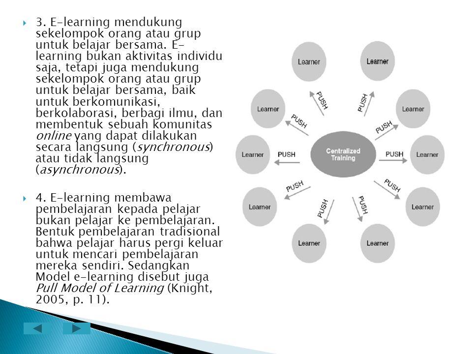 3. E-learning mendukung sekelompok orang atau grup untuk belajar bersama. E- learning bukan aktivitas individu saja, tetapi juga mendukung sekelompok orang atau grup untuk belajar bersama, baik untuk berkomunikasi, berkolaborasi, berbagi ilmu, dan membentuk sebuah komunitas online yang dapat dilakukan secara langsung (synchronous) atau tidak langsung (asynchronous).