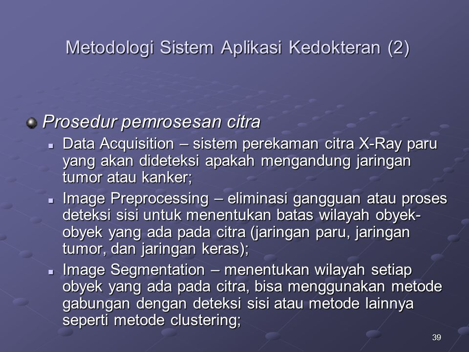 Metodologi Sistem Aplikasi Kedokteran (2)
