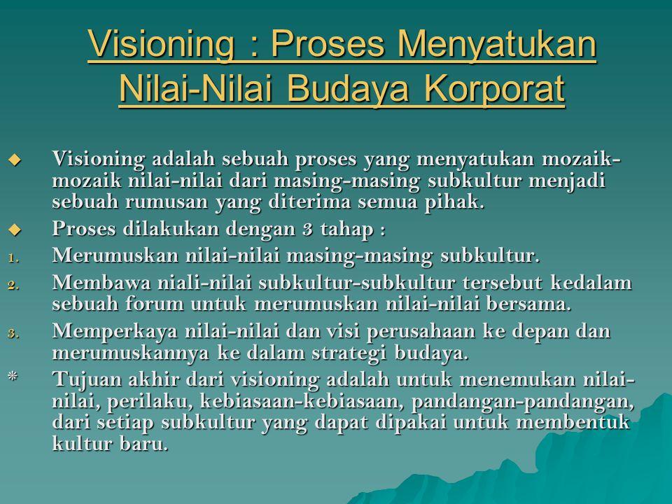 Visioning : Proses Menyatukan Nilai-Nilai Budaya Korporat