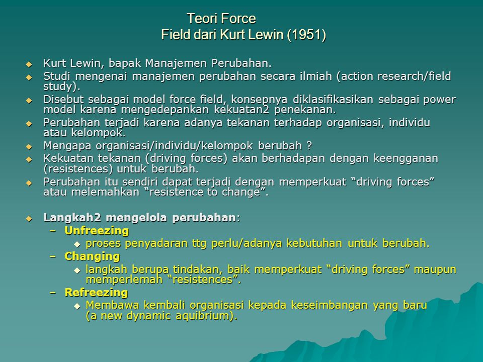 Teori Force Field dari Kurt Lewin (1951)