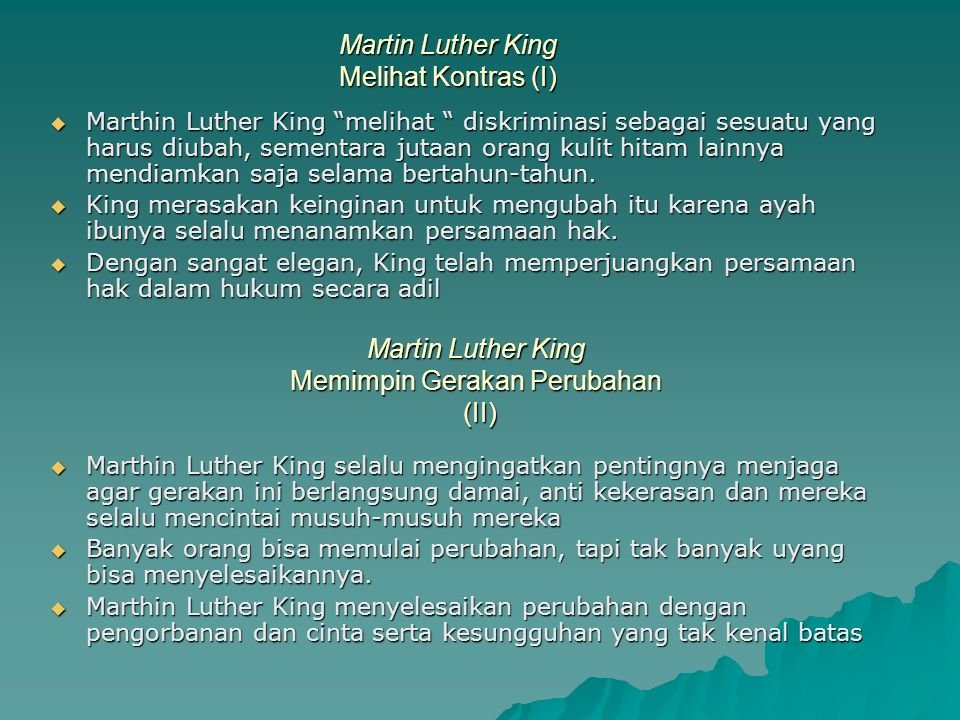 Martin Luther King Melihat Kontras (I)