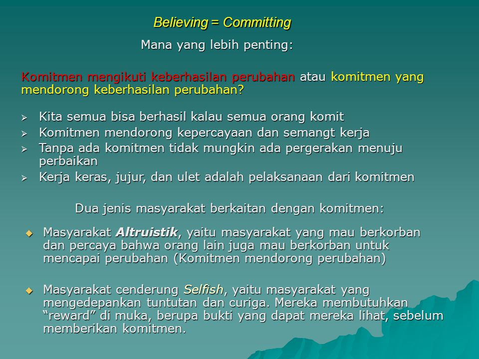Believing = Committing