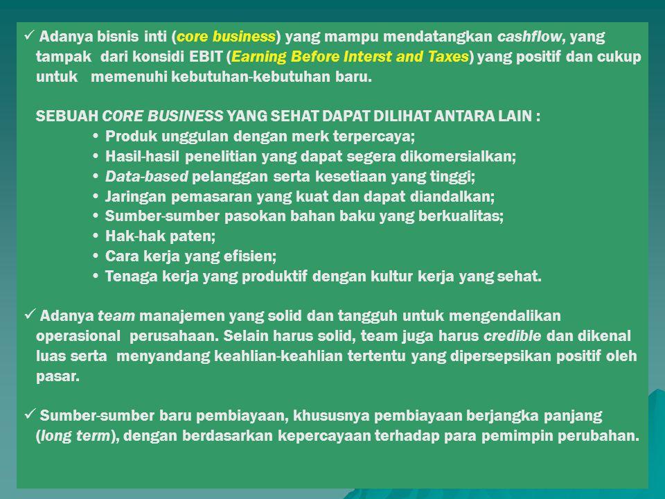 SEBUAH CORE BUSINESS YANG SEHAT DAPAT DILIHAT ANTARA LAIN :