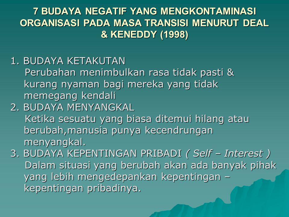 7 BUDAYA NEGATIF YANG MENGKONTAMINASI ORGANISASI PADA MASA TRANSISI MENURUT DEAL & KENEDDY (1998)