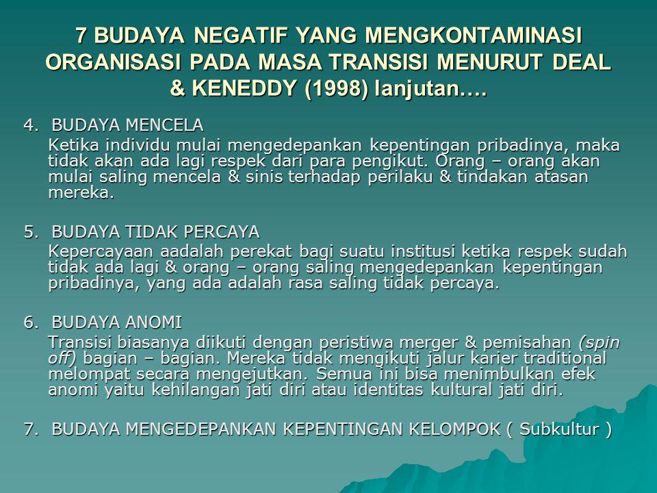 7 BUDAYA NEGATIF YANG MENGKONTAMINASI ORGANISASI PADA MASA TRANSISI MENURUT DEAL & KENEDDY (1998) lanjutan….