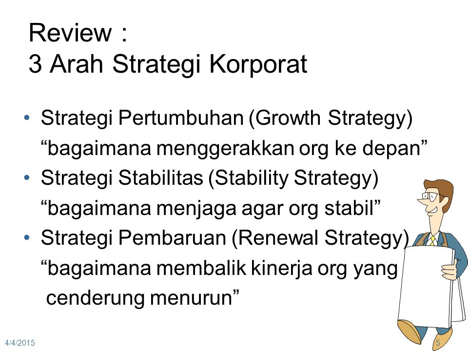 Review : 3 Arah Strategi Korporat