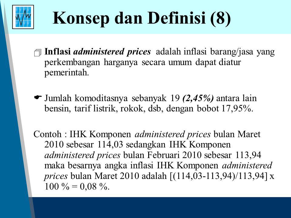 Konsep dan Definisi (8) Inflasi administered prices adalah inflasi barang/jasa yang perkembangan harganya secara umum dapat diatur pemerintah.