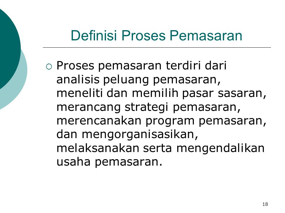 Definisi Proses Pemasaran