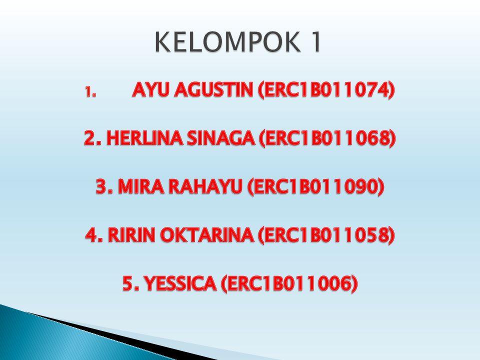 KELOMPOK 1 AYU AGUSTIN (ERC1B011074) 2. HERLINA SINAGA (ERC1B011068)