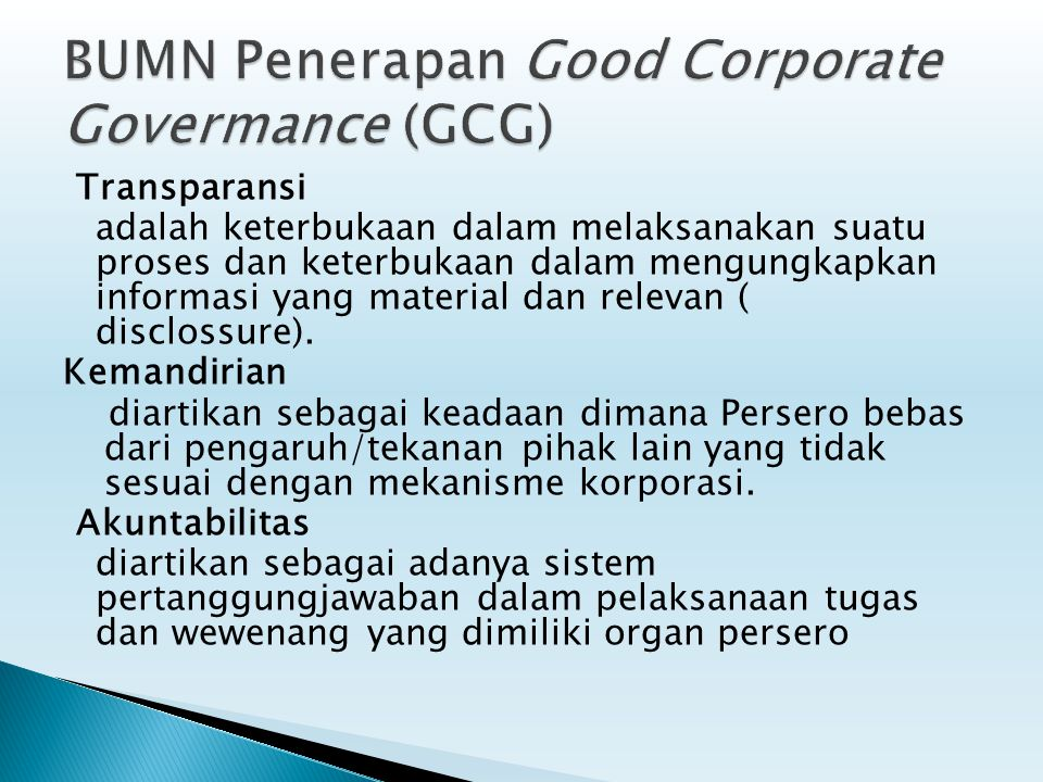 BUMN Penerapan Good Corporate Govermance (GCG)