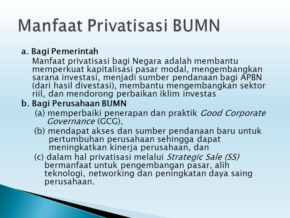 Manfaat Privatisasi BUMN