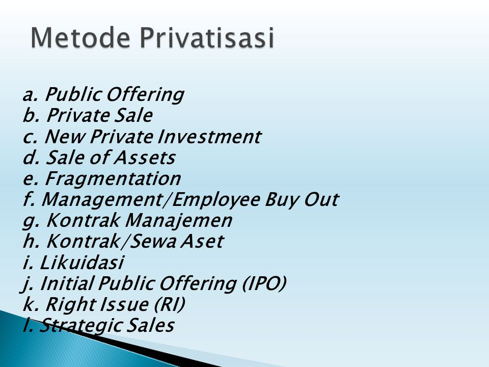 Metode Privatisasi