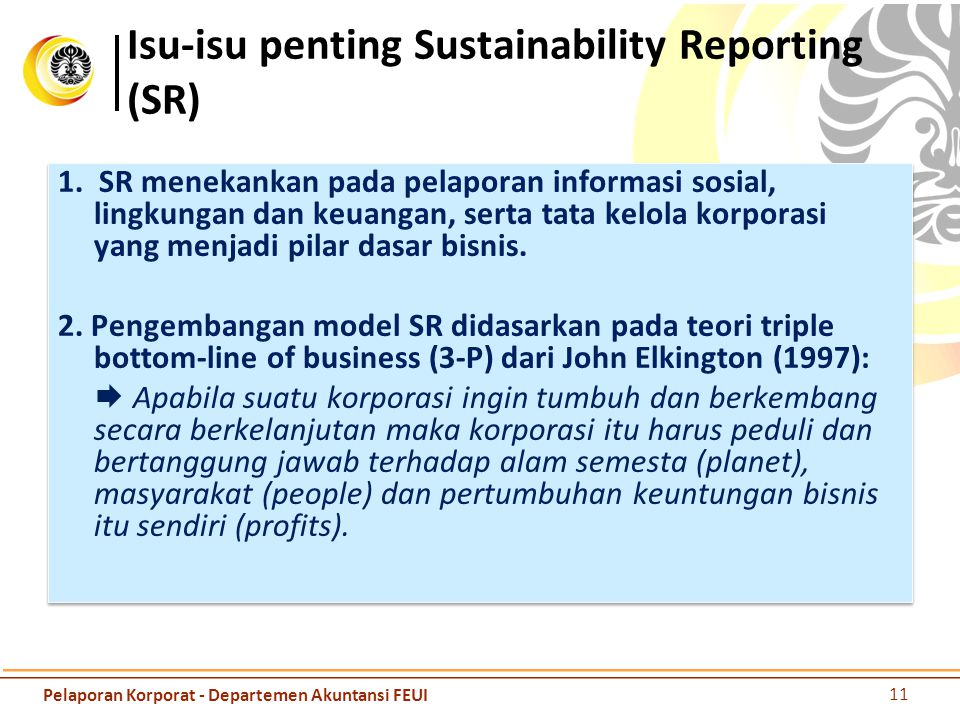 Isu-isu penting Sustainability Reporting (SR)