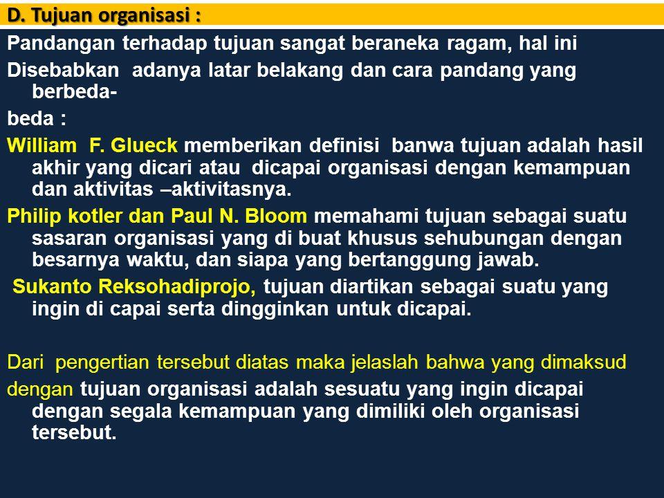 D. Tujuan organisasi :