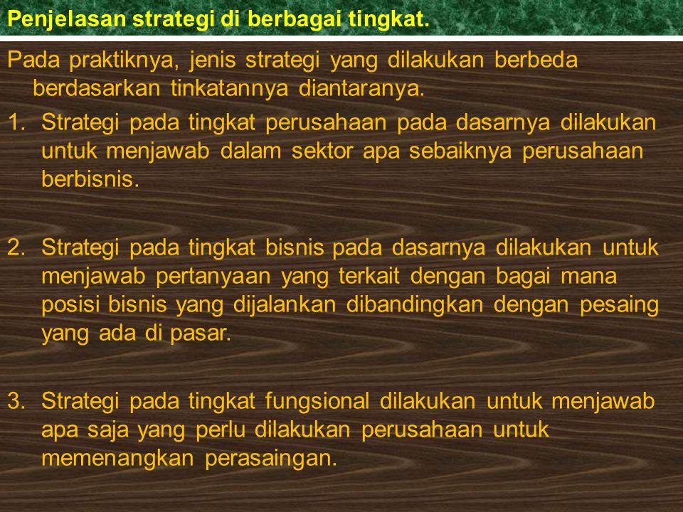 Penjelasan strategi di berbagai tingkat.