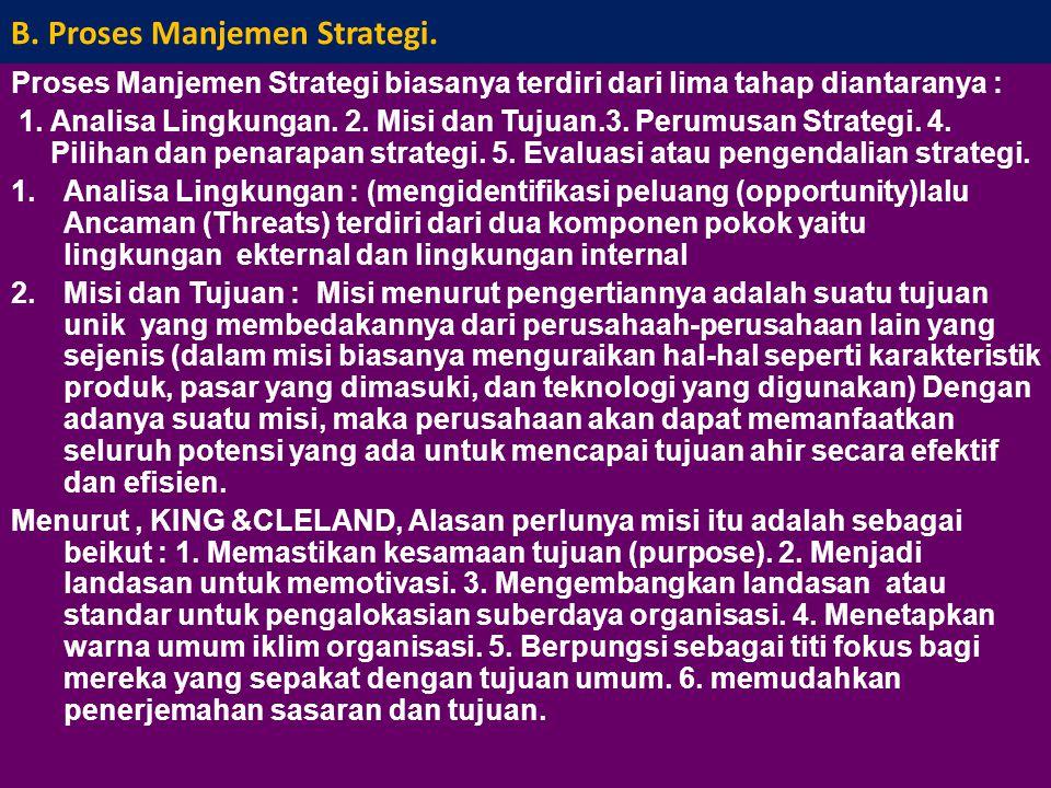 B. Proses Manjemen Strategi.