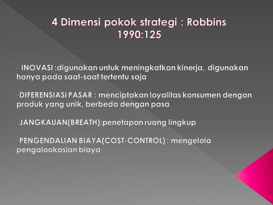 4 Dimensi pokok strategi : Robbins 1990:125