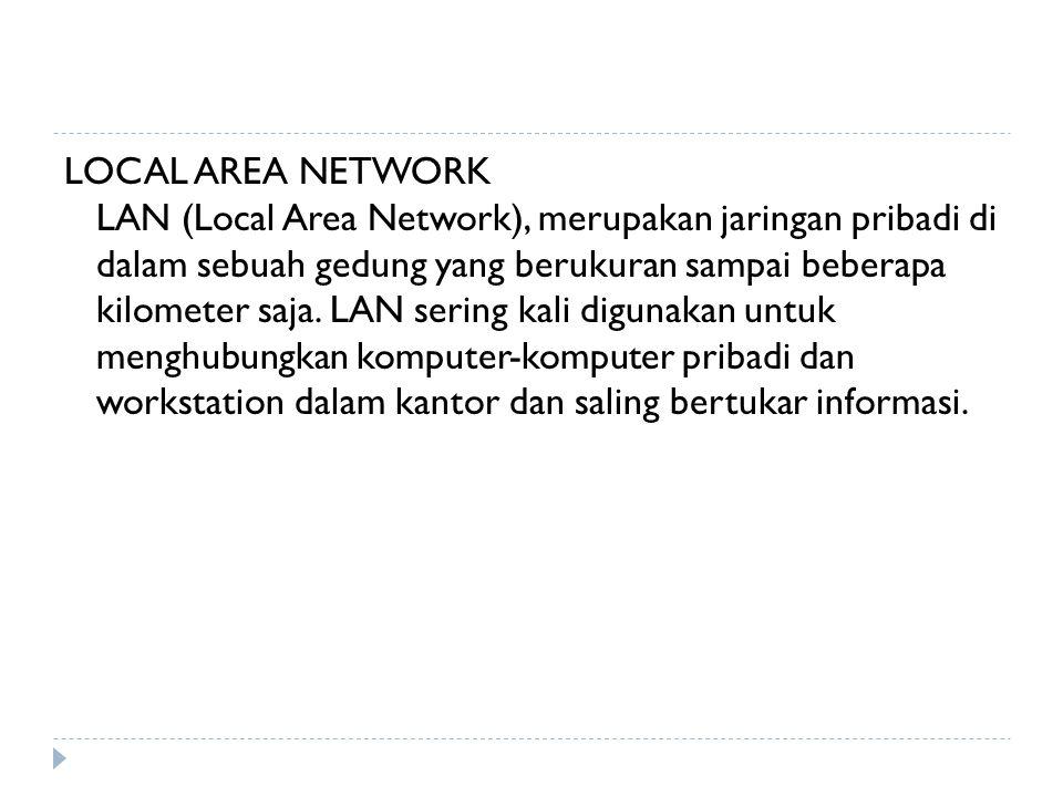 LOCAL AREA NETWORK LAN (Local Area Network), merupakan jaringan pribadi di dalam sebuah gedung yang berukuran sampai beberapa kilometer saja.