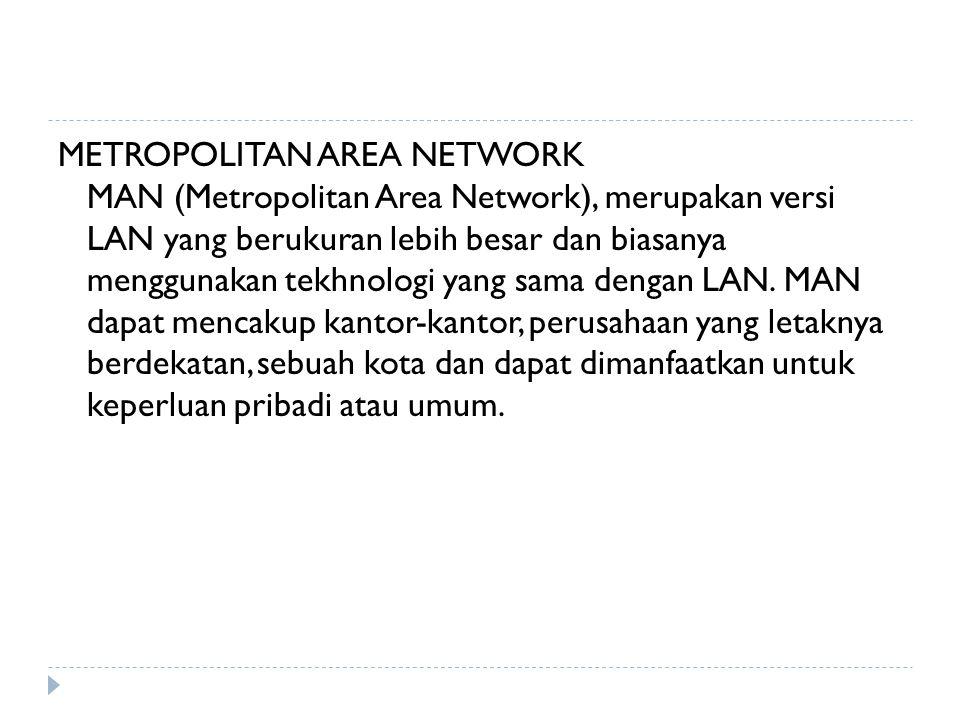 METROPOLITAN AREA NETWORK MAN (Metropolitan Area Network), merupakan versi LAN yang berukuran lebih besar dan biasanya menggunakan tekhnologi yang sama dengan LAN.