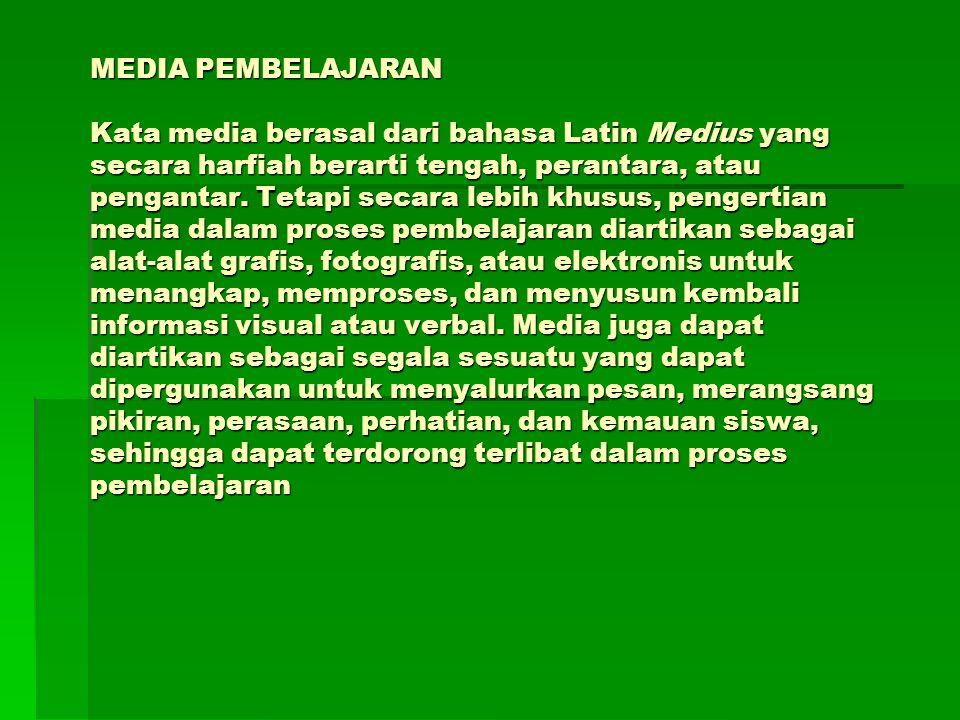 MEDIA PEMBELAJARAN Kata media berasal dari bahasa Latin Medius yang secara harfiah berarti tengah, perantara, atau pengantar.