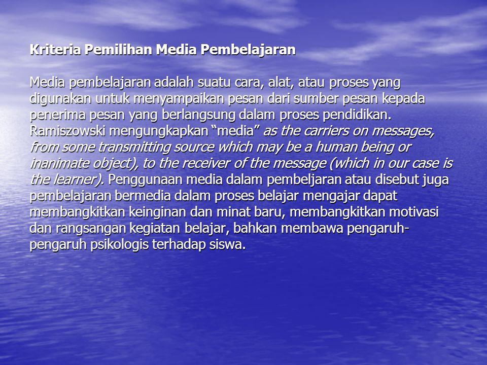 Kriteria Pemilihan Media Pembelajaran Media pembelajaran adalah suatu cara, alat, atau proses yang digunakan untuk menyampaikan pesan dari sumber pesan kepada penerima pesan yang berlangsung dalam proses pendidikan.