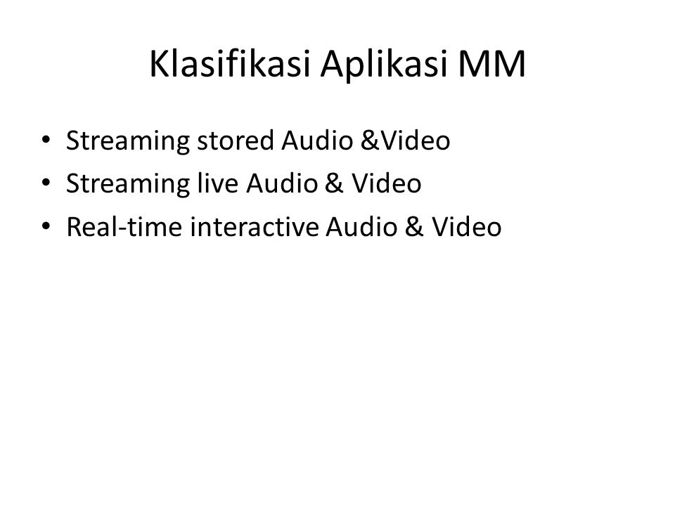 Klasifikasi Aplikasi MM