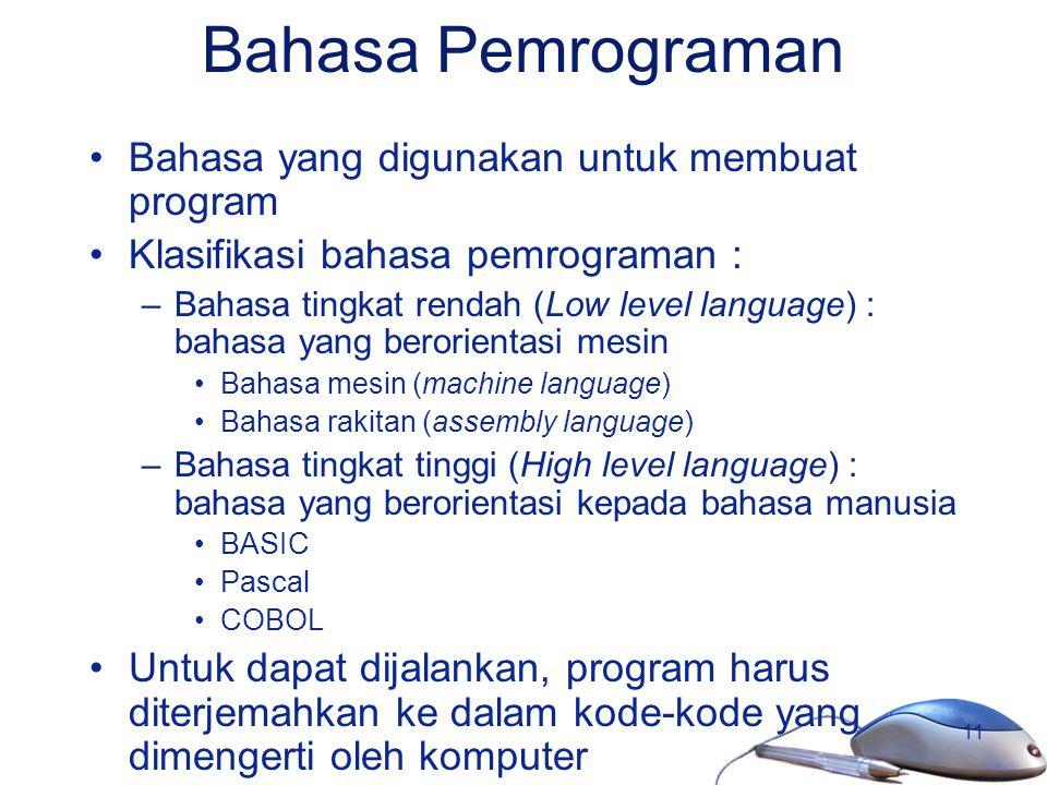 Bahasa Pemrograman Bahasa yang digunakan untuk membuat program