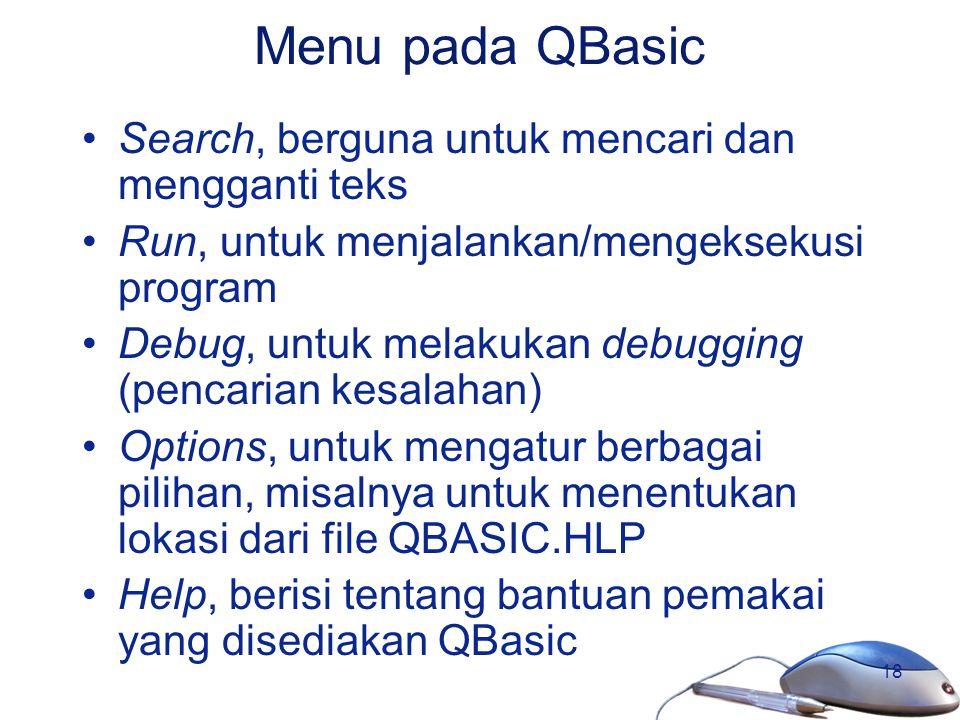 Menu pada QBasic Search, berguna untuk mencari dan mengganti teks