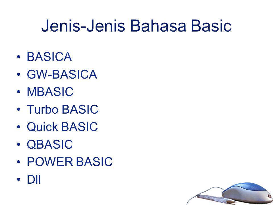 Jenis-Jenis Bahasa Basic