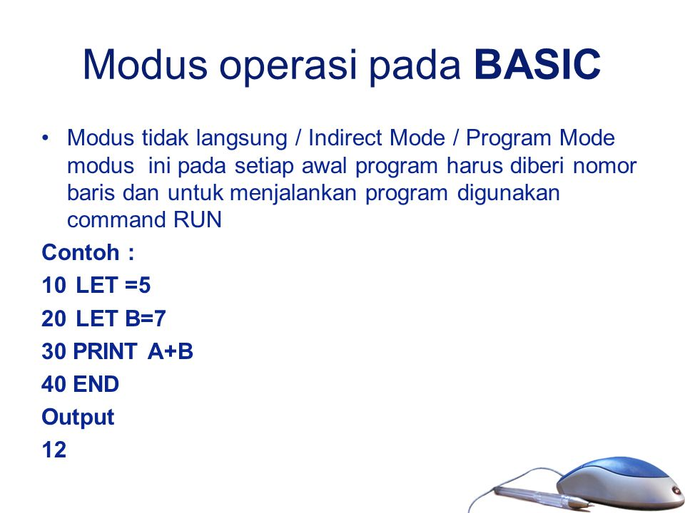 Modus operasi pada BASIC