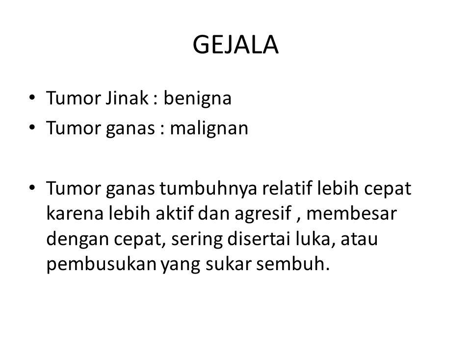 GEJALA Tumor Jinak : benigna Tumor ganas : malignan