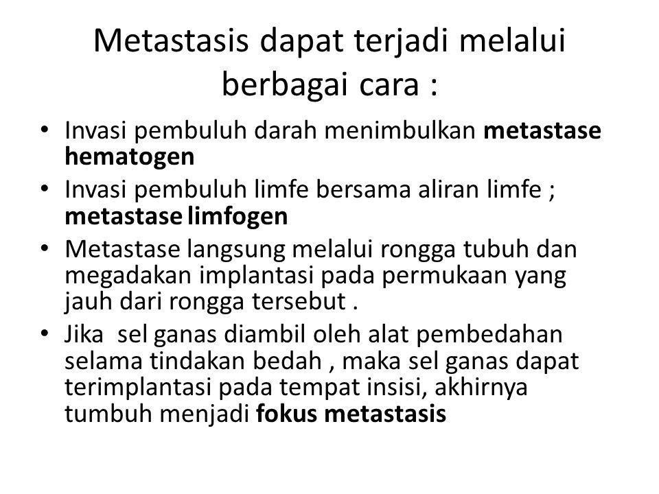 Metastasis dapat terjadi melalui berbagai cara :