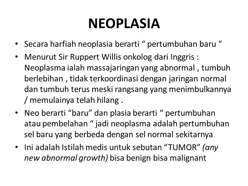 NEOPLASIA Secara harfiah neoplasia berarti pertumbuhan baru